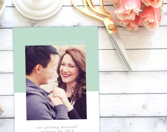Save the Date Announcement   Save the Date   Invitation   One Photo   Colorblock   Simple   Modern   DIY   Printable