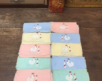 Vintage Set of 10 Handkerchiefs Hankies Hens Chickens Green Blue Yellow Pink FREE SHIPPING!