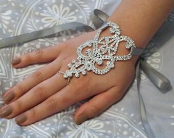 Wedding Glove Rhinestone Silver Lace Fingerless Gloves, Bridal Gloves, Applique Gloves, Crystal Gloves, Accessories- GL002