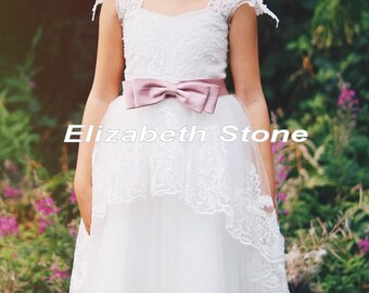 Ivory Lace Flower Girl Communion Dress
