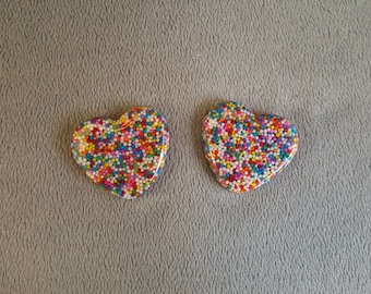 Candy Sprinkle Resin Heart ~ Cabochon, Charm, Brooch or Hair Clip ~ Made to Order