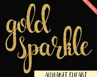 BUY 3 FOR 8 USD, Gold glitter alphabet clipart,  gold digital letter, glitter digital alphabet, gold sparkly, sparkle font clipart, download