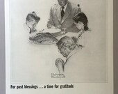 1964 Massachusetts Mutual Life Insurance Print Ad - Normal Rockwell - Thanksgiving Ad - Family Prayer