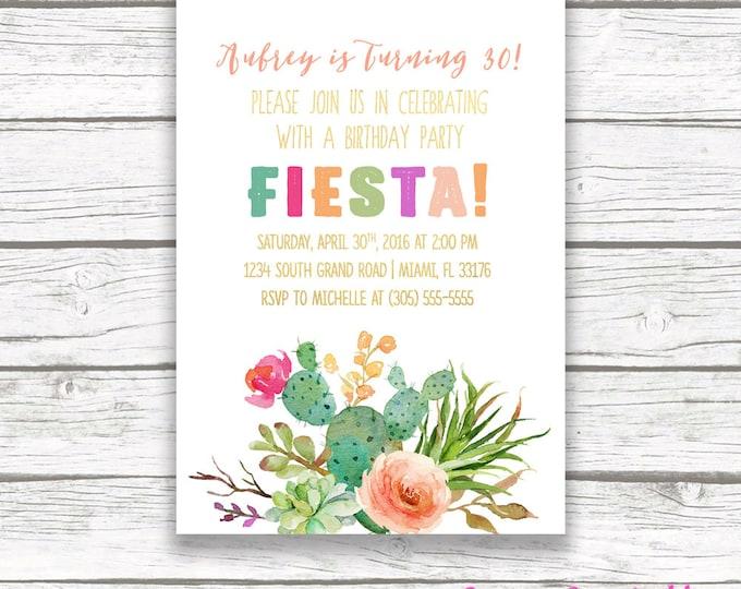 Fiesta Birthday Invitation, Cactus Birthday Invitation, Cactus Invitation, Fiesta Invitation, Cinco de Mayo Invitation, Printable Invite