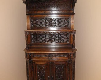 Antique French Oak Gothic Cabinet, 19th Century, Narrow Model, Heavy Gothic Carvings #2315