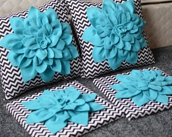 Dahlia Pillow and Wall Art Set, Dahlia Flower, Felt Flower, Accent Pillow, Wall Art, Canvas, Chevron, Teal, Black, White, Pillow, Flower