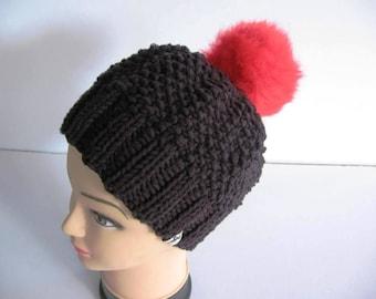 EL BURRO Bobble Hat Beanie Hat Black Red 45% cotton