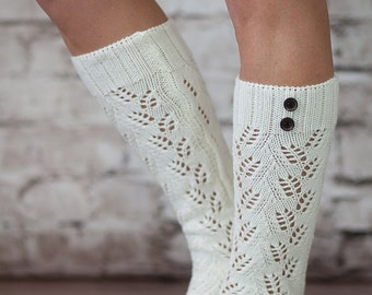 The Luxe 2 Button Knit Socks Ivory