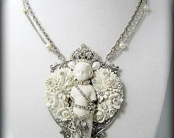 Handmade Necklace Statement Necklace Frozen Charlotte Vintage Recycled Rhinestones Artisan Jewelry Assemblage Jewelry ButteflyLoftDesigns