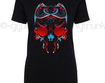 Skull Top -Patriotic Skull T Shirt - Skull Shirt - Patriotic Skull Top - Day of the Dead Shirt - Women's Skull Top - Patriotic Tribal Shirt