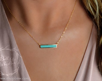 Turquoise Bar Necklace, Turquoise Gold Necklace, delicate turquoise necklace, simple turquoise necklace, turquoise jewelry, bridesmaid gift