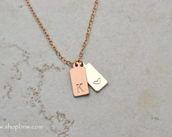 Initial Tag Necklace / Gold, Silver, Rose Gold / Personalized Initial Necklace, bridal necklace, bridesmaid, mothers day gift, RECTANGLE