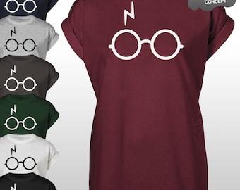 Lightning Glasses T-Shirt Scar Magic Not Leviosa Potter Deathly Hallows Harry Tee Top Unisex Adults