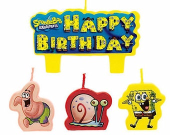 SpongeBob Squarepants Cake Candle Set 4ct