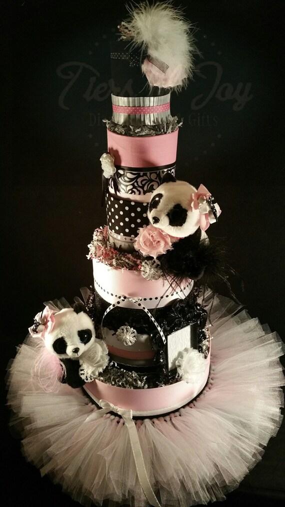 6 Tier Pink Panda Diaper Cake W Tutu Skirt Panda Stuffed