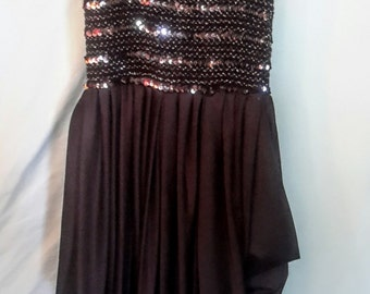 1980's sequined stretch bodice with skirt, size small, med