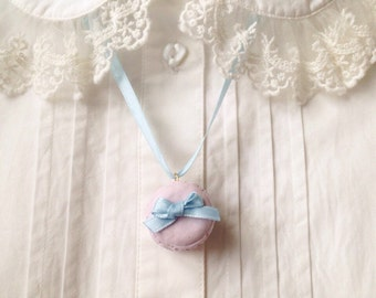 Macaron Necklace, Pastel Lavender, Kawaii Necklace, Cute Necklace- pastel Blue Bow