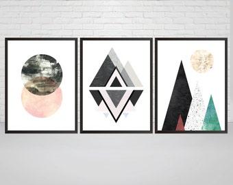 Set of 3 Geometric Prints, Mountain Wall Art, Printable Art, Mid Century, Modern Wall Decor, Abstract Scandinavian Poster, Circle Moon art
