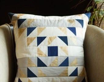 MODERN QUILTED and Painted PILLOW Pattern- Triangle Collage Pillow Pattern - Downloadable