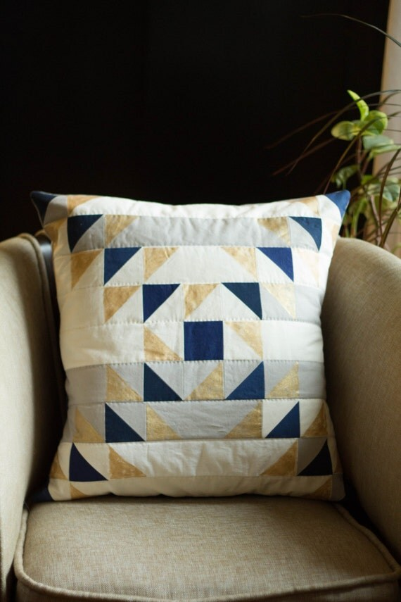 Modern Quilted Pillows Pattern : MODERN QUILTED and Painted PILLOW Pattern- Triangle Collage Pillow Pattern - Downloadable from ...
