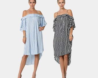 D10361 Spaghetti Strap Off Shoulder 3/4 Sleeve Jagged Stripe Print Rounded High Low Hem Dress (MADE IN USA)