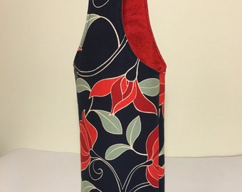 Wine Tote - Blue and Red Wine Tote - Floral Wine Tote - Wine Bag - Wine Gift Bag - Wine Caddy
