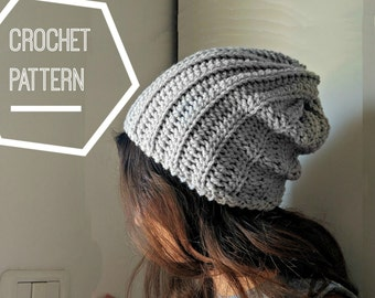 Ribbed Crochet Beanie Pattern, Slouchy Crochet Hat Pattern, Slouchy Crocheted Beanie Hat, Crochet Patterns for Men, Mens Slouchy Hat Pattern