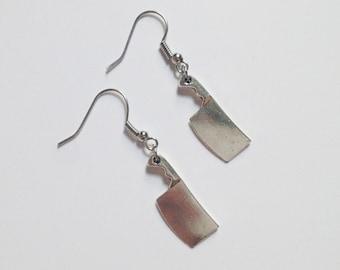 Earrings - silver earrings - butcher knife charm - knife earrings - kitchen charm - dangle - jewelry - best friend - gift