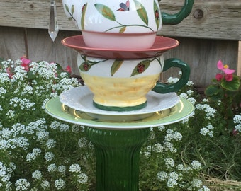 "Teapot Totem, Vintage Glass, Garden Decor""Lady Bug"""