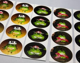 Stickyfrogs Frog Photo Stickers - 20 Stickers, 5 designs - Round Stickers