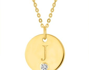 Letter J Necklace, Gold Initial Charm Necklace, Birthstone Letter J Pendant, Gold Plated Initial J Disc Pendant With Personalized Birthstone