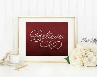 Holiday Sign - Believe Sign - Christmas Decorations - Red Christmas Wall Decor - Christmas Printable - Instant Download - 8x10