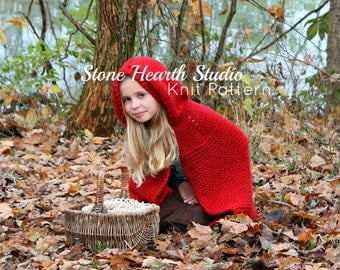 Red Riding Hood Cape Pattern,Knitted Cape Pattern,Girls Cape Pattern,Winter Cape Pattern,Red Cape Pattern,Hooded Cape Pattern,Knit Pattern