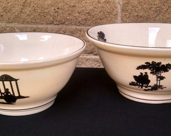 Harker Silhouette Bowls - Black Silhouette - Colonial- Victorian - Harker Hotoven Chinaware - Set of 2