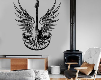 Wall Vinyl Guitar Heavy Rock Music Eye Wings Speakers Piano Guaranteed Quality Decal Mural 1692dz