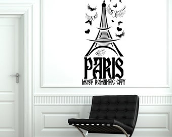Wall Decal Paris France Eiffel Tower Most Romantic City Love Vinyl Decal Sticker 1825dz