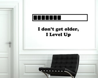 Wall Vinyl Decal Loading Gamer Gaming Game Level Up 2058di