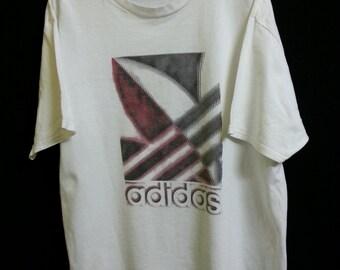90s//Adidas//Rare Trefoil logo//Distress White TShirt// Size XL//Made In Usa//Nike Puma