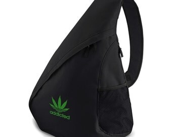 Addicted To Weed Embroidered Monostrap Rucksack Cannabis 420 Backpack Bag School Bags