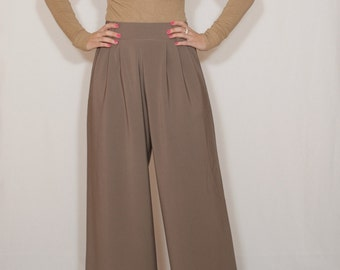 Taupe brown pants High waist Wide leg trousers Pants with pockets