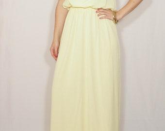 Pale yellow dress Bridesmaid dress Long chiffon dress Prom dress Keyhole dress