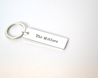 Custom Personalised Hand Stamped Key Ring Keychain