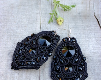 Black dangle earrings / celestial / Birthday gift|for|woman Anniversary gifts Soutache Black crystal earrings Classic jewelry inspirational,