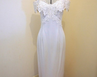 Jessica McClintock Vintage off-shoulder Wedding Dress Size 6-8