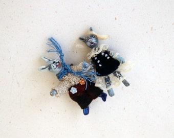 Cute Bunny Brooch | Bunny Jewelry | Bunny Pin | Rabbit Brooch | Cute Rabbit Jewelry | Miniatures Bunny Doll | Small Rabbit Doll