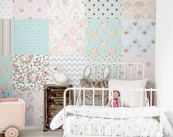 Patchwork wallpaper, Nursery removable wallpaper, Wall mural, Kids, Nursery wall decals, Baby room decor, Vintage style  #21