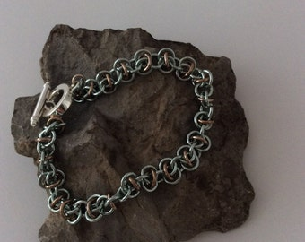 Chain maille bracelet in brown and silver