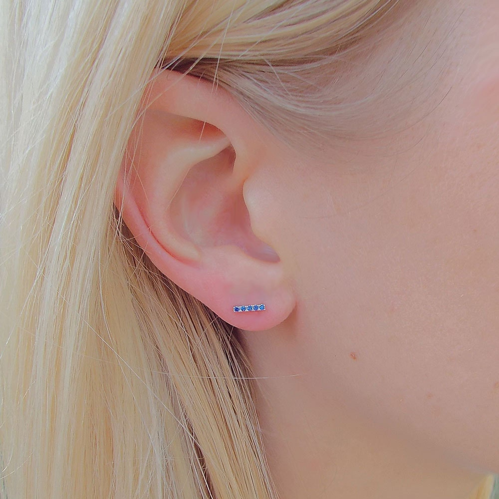 Blue Sapphire Bar Earrings, Tiny dainty Stud Earrings, micro pave CZ Sapphire and White Gold plated Earrings, blue sapphire Stud Earrings