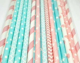 Gender reveal  party straw variety. Gender reveal party supplies. Baby shower straws. Baby blue straws. Baby shower. Baby sprinkle decor