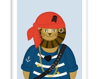 Poster Pirate Lion | Nautical  Poster | Wall Art Children+ Nursery | fresh + clear   |   Modern Scandinavian Style